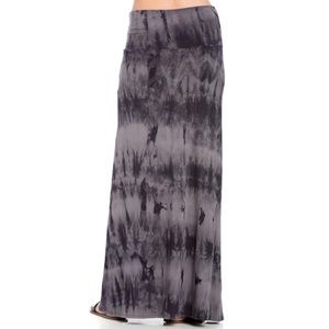 Mono B   Black Gray Tie Dye Maxi Skirt   Large
